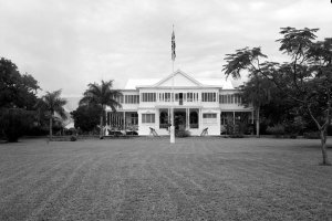 Trafalgar House main front, from south-east, 1962.