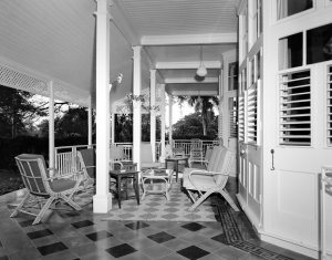 The terrace, outside the drawing room, 1962.