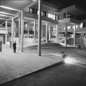 Offices entrance at night, 1973.