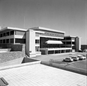 Offices entrance, east, front, 1973.