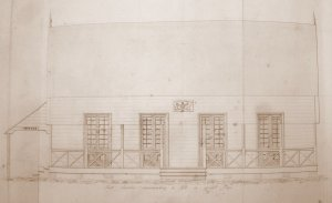 Drawing of fron elevation, 1850.