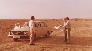 Selecting the site, November 1978. L to R: WJA Buckley FCO, JR Nicol DEMOS, DI Lewty, head of chancery Jedda.
