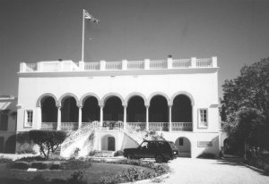Principal entrance to arcaded terrace with grand hall beyond, 1967.