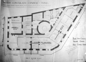 First floor plan of consulate, 1915 (with later room uses).