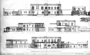 Elevation drawings of main compound buildings, 1949. Top, from compound: bottom, from river.