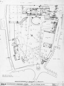 Site plan of Tigris compound (north to top left)), with offices top right and residence to its left, 1947?