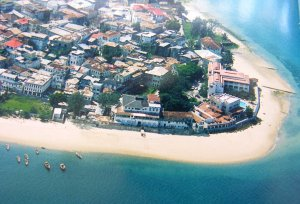 Aerial view of Stone Town, with former enclave near right, 2007.