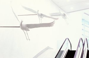 Three Cranes, by sculptor David Annand, flying above the main escalator,  1997.