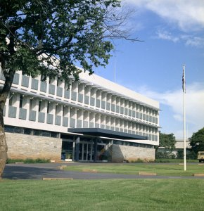 Offices, entrance front, 1971.