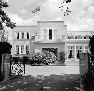 Main front of the residence, 1964.