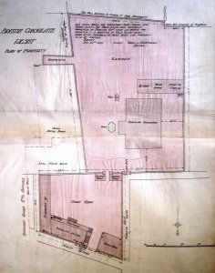 Plan of compound, with bought residence at centre and built offices in the yard at bottom. c.1900.