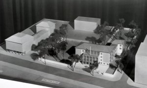 Early sketch model of proposed residence, 1960.