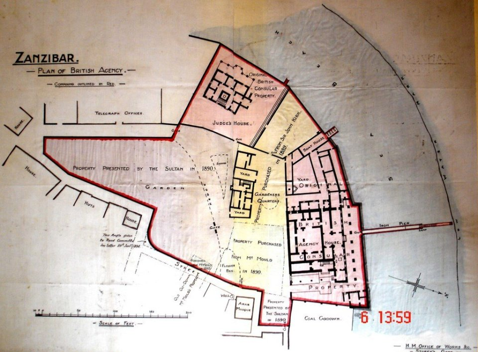 Extent of consulate/agency enclave, 1906.