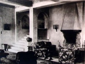 Drawing room. with foot of stair at left,1947.