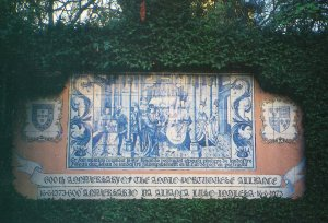 Azulejo panel commemorating 600 years of the Anglo-Poertuguese Alliance, 1973.