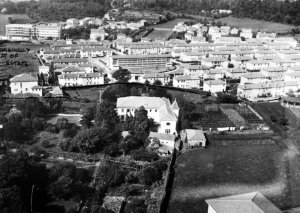 Aerial view of the rear of the house, including consulate outbuilding, and encroaching residential,development, 1974.