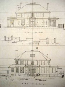 Section and front elevation of proposed legation house, 1924.