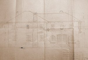 Drawing of front elevation of the Ashton house, 1944.