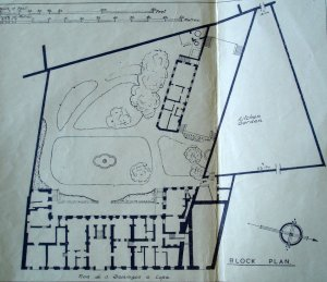 Siteplan of offices and garden, 1947.