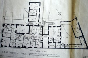 First floor plan, 1929, with main bedrooms and children's bedrooms and school room in wing above ballroom.