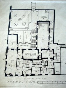 Ground floor plan, 1929, with main reception rooms, courtyard and steps up to the garden.