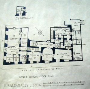 Lower ground floor plan, 1929,with coach house, later chancery, bottom left and residence entrance bottom centre.