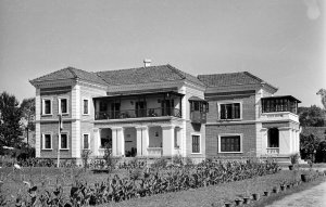 Forest House, at the time of its acquisition, with entrance across the veranda, 1953.