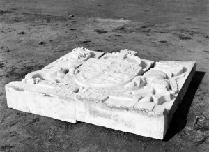 Coat of Arms, awaiting installation, 1954.