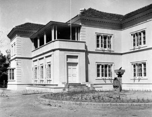 The residence, 1954, with veranda enclosed as entrance hall.