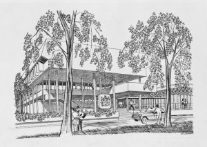 Sketch by Ken Campbell of entrance to proposed new offices, 1970.