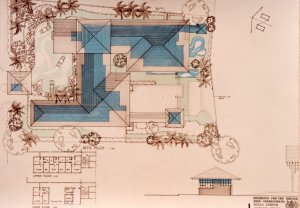 Plan of ompetition- winning design for the new residence, 1986,