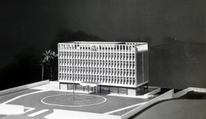 Model of proposed new offices, 1962.