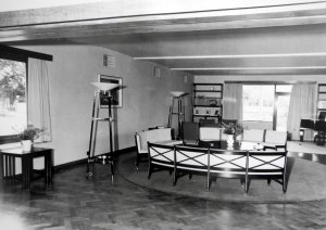 Part of the drawing room, showing Dennis Lennon seating, 1954.