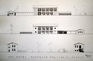 Drawing of proposed agency building., with residence above the offices, 1955.