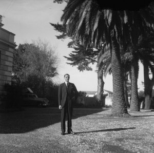 The consul-general, , outside his building, 1954.