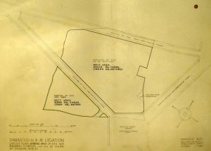 Location drawing of Abou Roumaneh site, 1949.