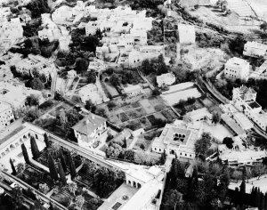 Aerial view of Fez, 1949. The consulate is at lower left, just above the Moorish garden.