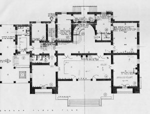 Ground floor plan of residence, 1952.