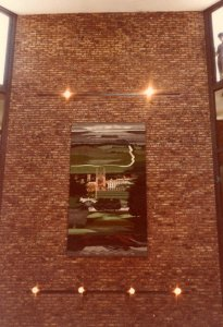 Tapestry in atrium: East Anglian Landscape, 1985.