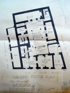 Ground floor plan of 1924 showing bank's layout, and consulate reduced to one office off the entrance hall.
