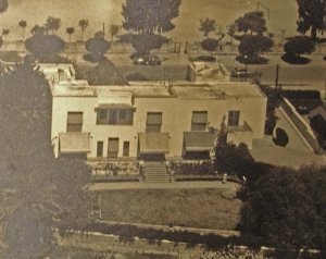 Aerial view of consular house, viewed from garden side, 1958.