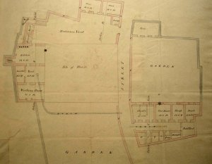Early survey of consular house, with land also on the other side of the road, 1815.