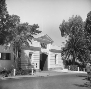 Gatehouse, on street, 1952.
