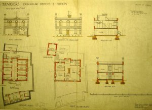 Drawing for proposed consular office and prison on retained land of former legation, 1889.